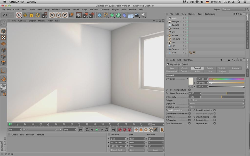 tutorial de iluminaci n interior en cinema 4d ejezeta. Black Bedroom Furniture Sets. Home Design Ideas