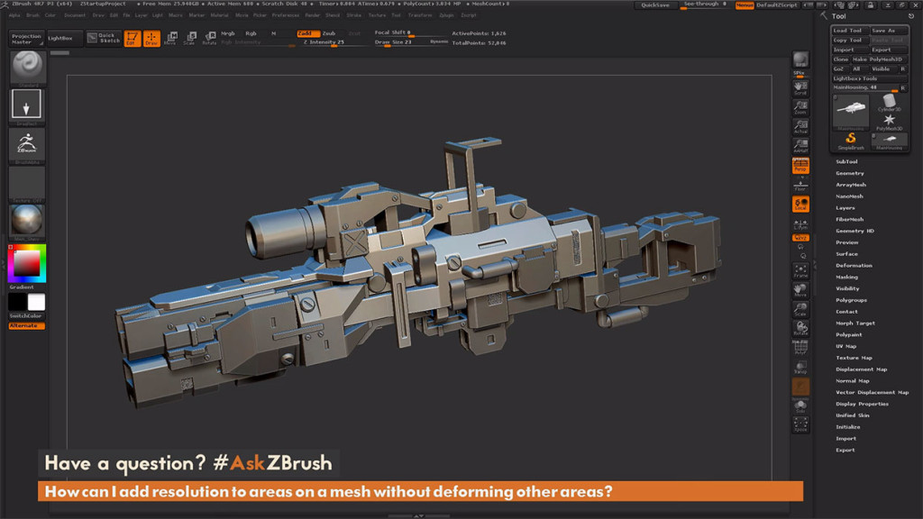 pixologic_ask_zbrush_How_to_add_resolution_to_areas_on_a_mesh_without_deforming_other_areas