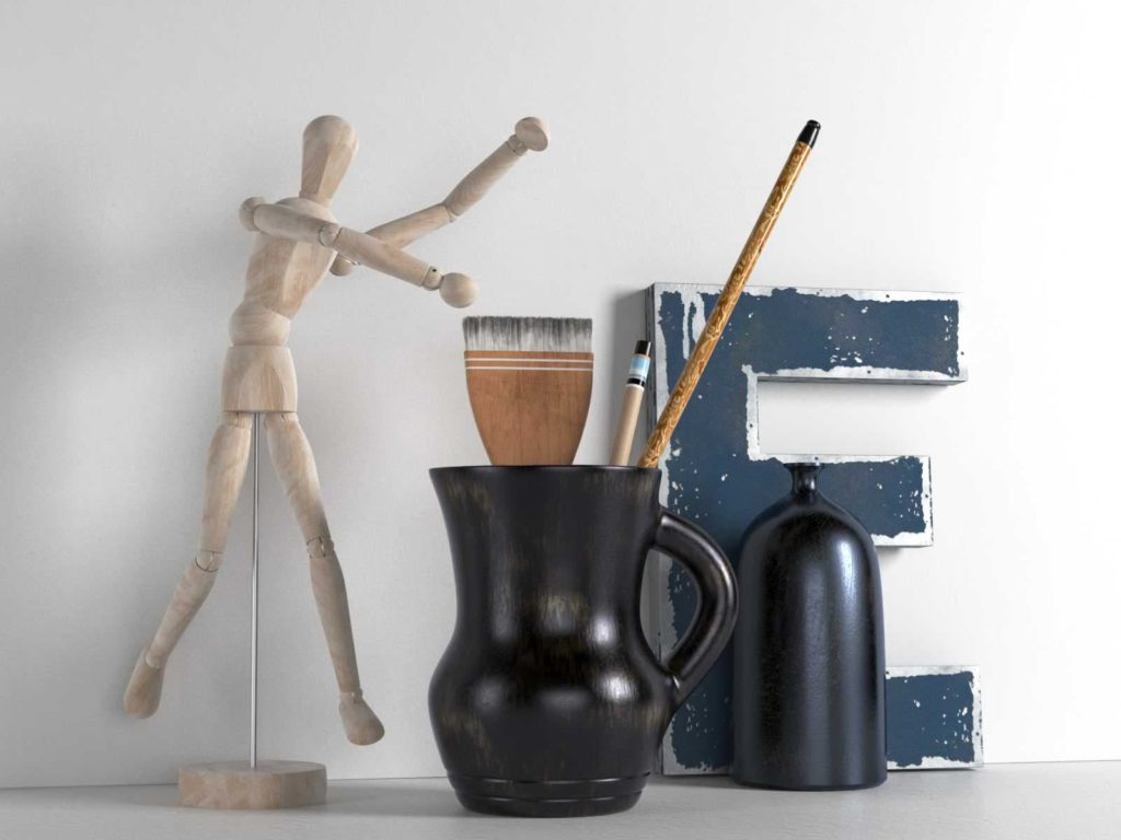 wooden-mannequinbrushes-in-pitcher-and-bottle-1