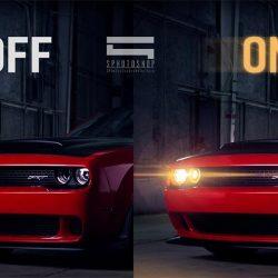 Turning on car headlights using Photoshop