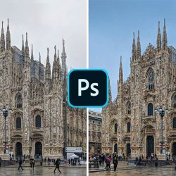 How to turn a white/gray sky into blue in Photoshop