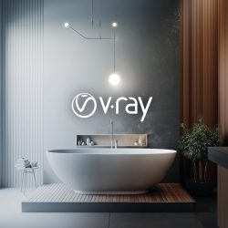 Material setup for a bathroom scene with V-Ray
