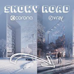 Tire tracks on snowy road